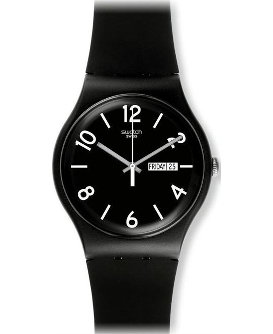 Swatch Backup Black Unisex Watch, 40mm