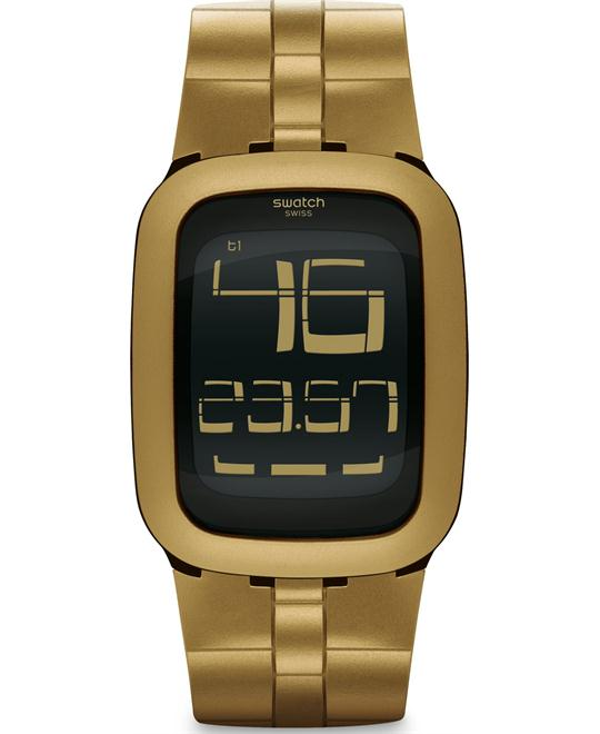 Swatch Men's Digital Gold Rubber Quartz Watch, 39mm