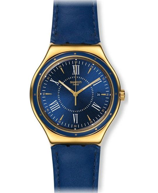 Swatch Men's Irony Blue Leather Swiss Watch, 41mm