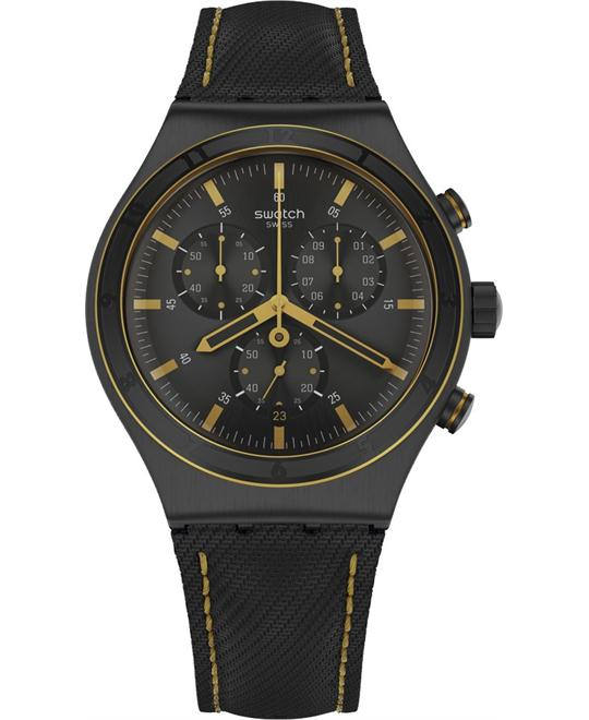 Swatch Noho Time Yellow Black Chrono Men Watch 43mm