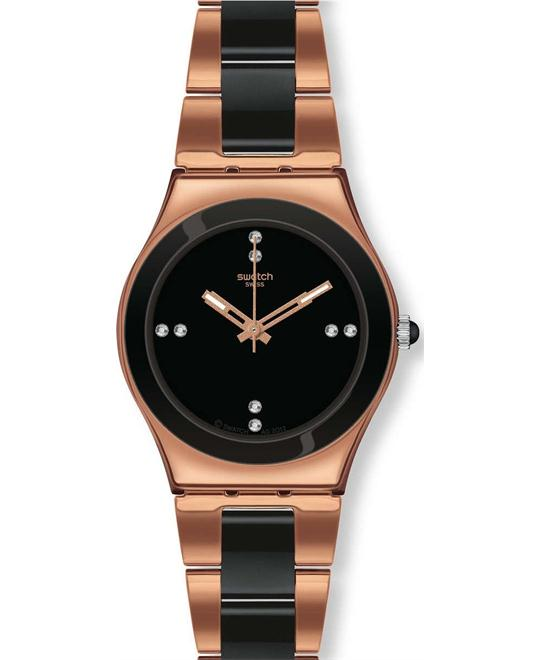 Swatch rose pearl black bracelet women watch 33mm