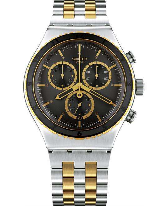 Swatch Sobro Gold Black Chrono Men Watch, 43mm