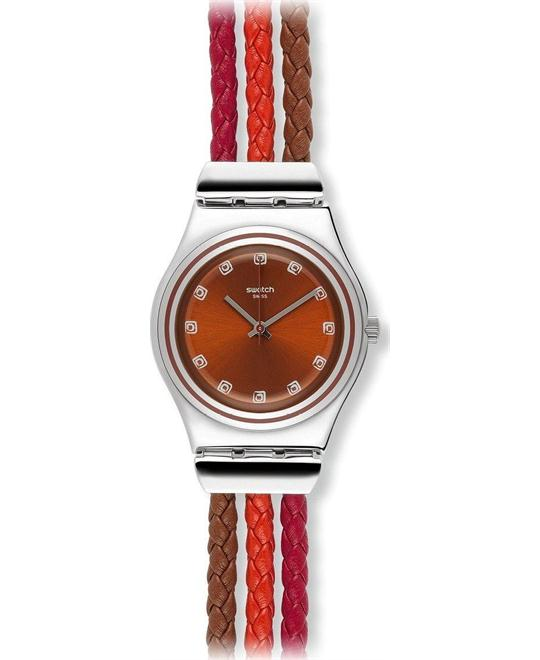 Swatch Tricord Red Dial Multi-Colored Woven Watch 33mm