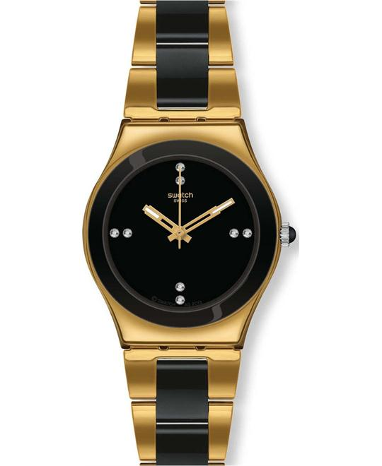 Swatch  YELLOW PEARL BLACK Women's Swiss Watch 32mm