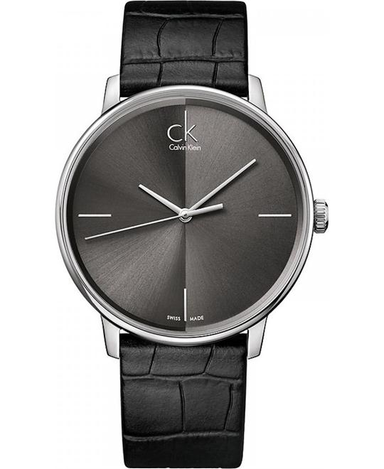 Women's Black Calvin Klein Accent Leather Strap Watch 41mm