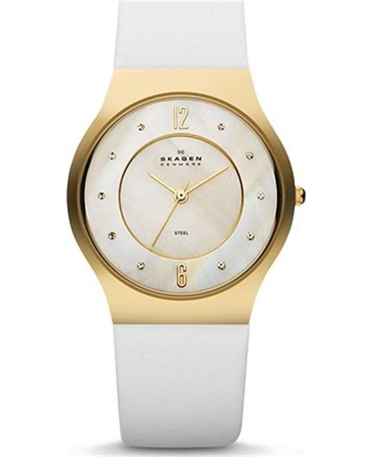 WOMEN'S WATCH WHITE LEATHER & STEEL 34MM