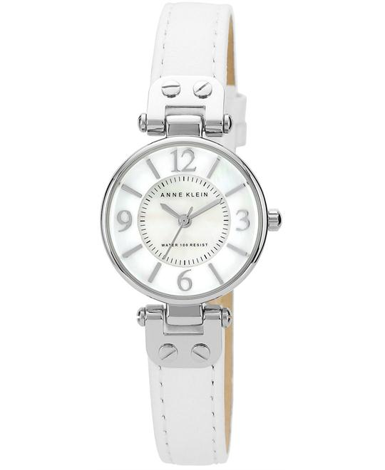 Anne Klein Watch, Women's White Leather Strap 26mm