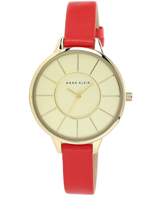 Anne Klein Red Leather Strap Watch 38mm