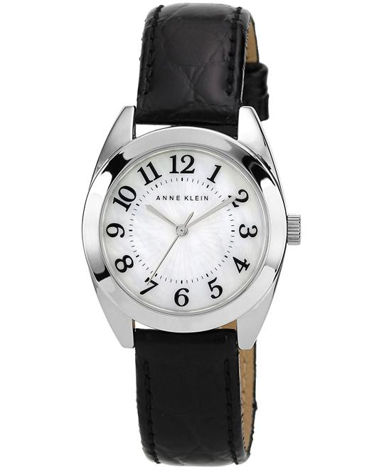 Anne Klein Women's Black Leather Strap 32mm