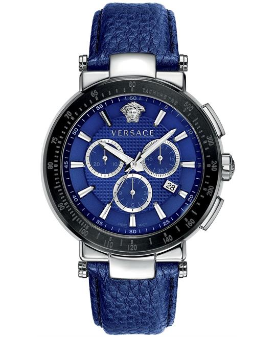 Versace Men's Sport Blue Leather Strap 46mm