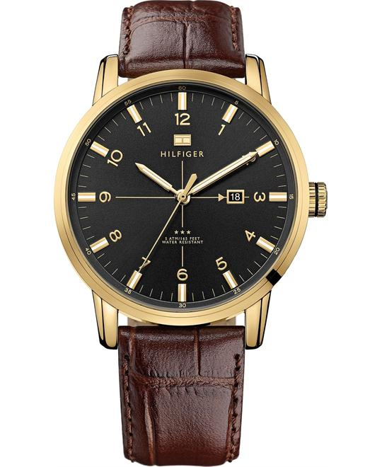 Tommy Hilfiger Men's Brown Leather Strap 44mm