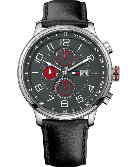 Tommy Hilfiger Men's Black Leather 45mm