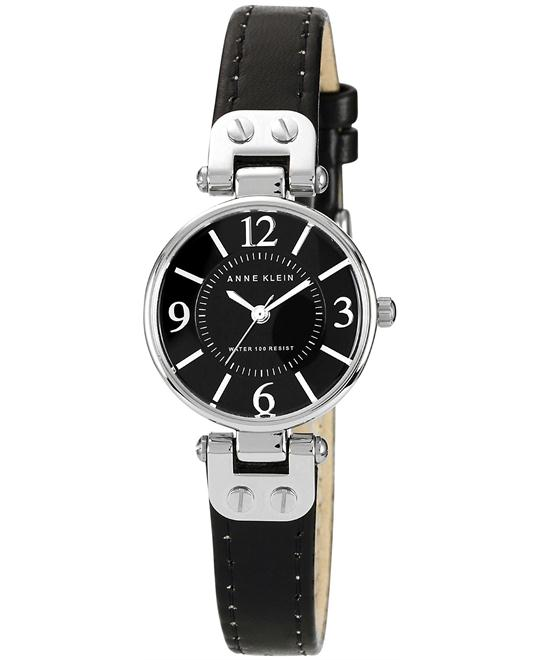 Anne Klein Women's Black Leather Strap 26mm
