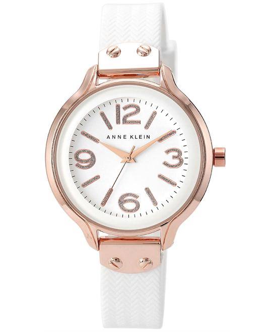 Anne Klein White Silicone Strap Watch 38mm
