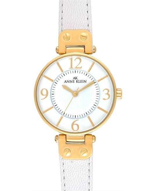 Anne Klein Watch, Women's White Leather Strap
