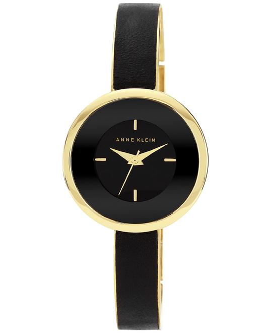 Anne Klein Black Leather and Gold Bracelet 31mm