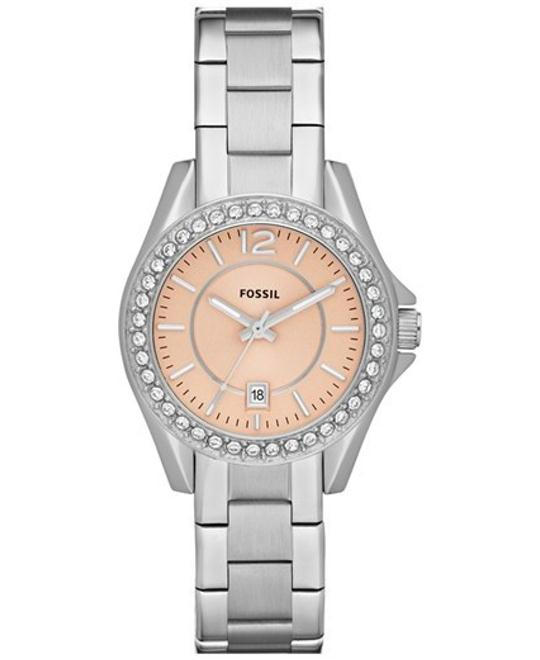Fossil Riley Three Hand Stainless Steel Watch 30mm