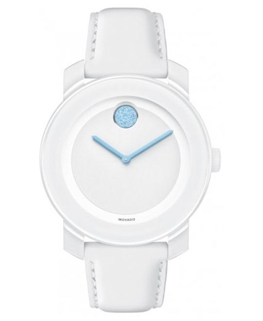 Movado Bold Light Blue Accent White Ladies Watch 36mm