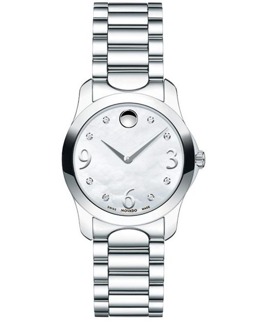Movado Diamond Mother of Pearl Ladies Watch 28mm