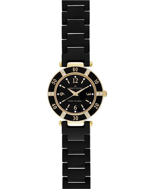 Anne Klein Watch, Women's Black Ceramic Bracelet