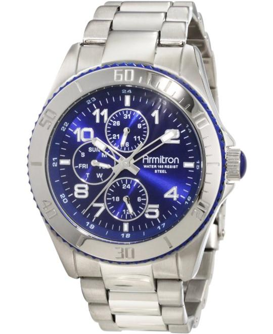 Armitron Men's Bezel Blue Dial Silver-Tone Watch