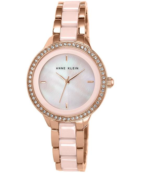 Anne Klein Watch, Women's Ceramic and Rose Gold 34mm