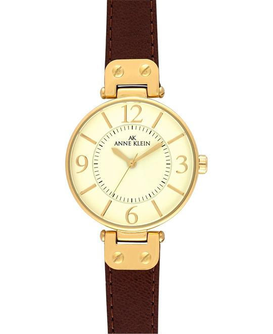 Anne Klein Watch, Women's Brown Leather Strap 34mm