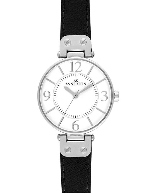 Anne Klein Womens's Black Leather Strap Watch 34mm