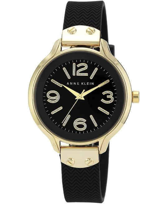 Anne Klein Women's Black Silicone Strap Watch 38mm