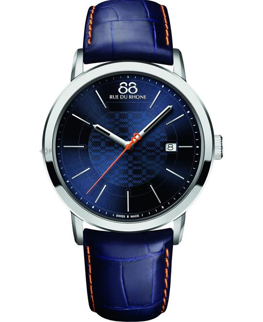 88 Rue Du Rhone Dial Blue Leather Mens Watch 42mm