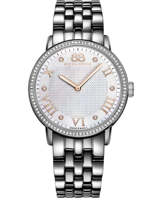88 Rue du Rhone Ladies Steel Roman numerals diamond 35mm