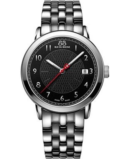 88 Rue du Rhone Men's Swiss Quartz Black Watch 39mm