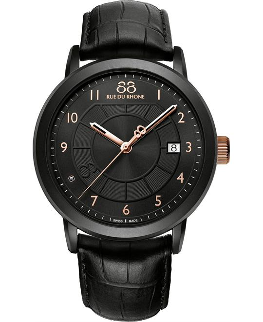 88 Rue du Rhone Men's Swiss Quartz Black Watch 45mm