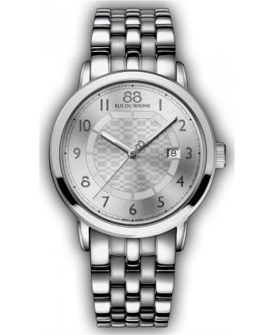 88 Rue du Rhone Men's Swiss Quartz Silver Watch 42mm