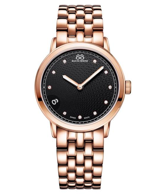 88 Rue du Rhone Women's Swiss 10 diamond Rose Gold 35mm