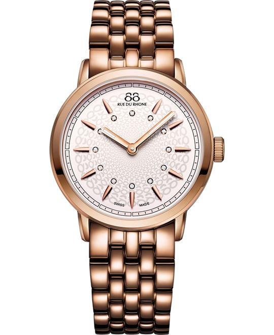 88 Rue du Rhone Women's Swiss 12 diamonds Watch 35mm