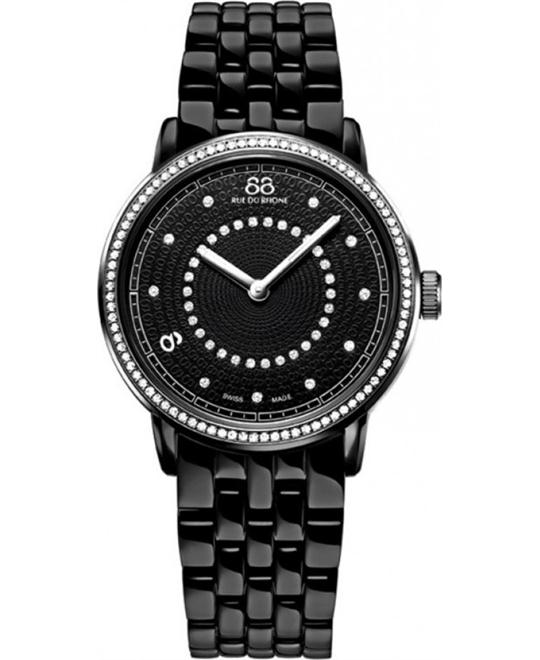 88 Rue du Rhone Women's Swiss Quartz Black Watch 35mm