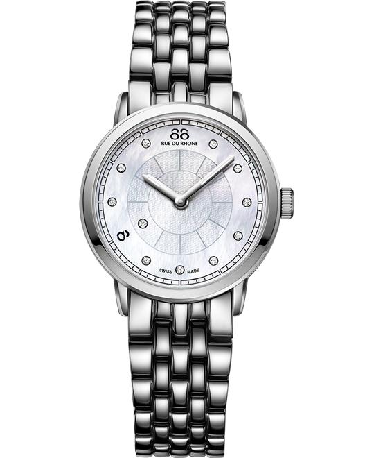 88 Rue du Rhone Women's Swiss Silver Sapphire Watch 29mm