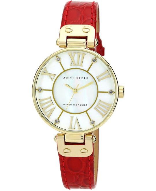 Anne Klein Watch, Women's Red Leather Strap 34mm