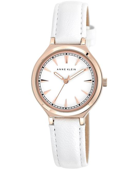 Anne Klein Women's White Leather Strap Watch 33mm