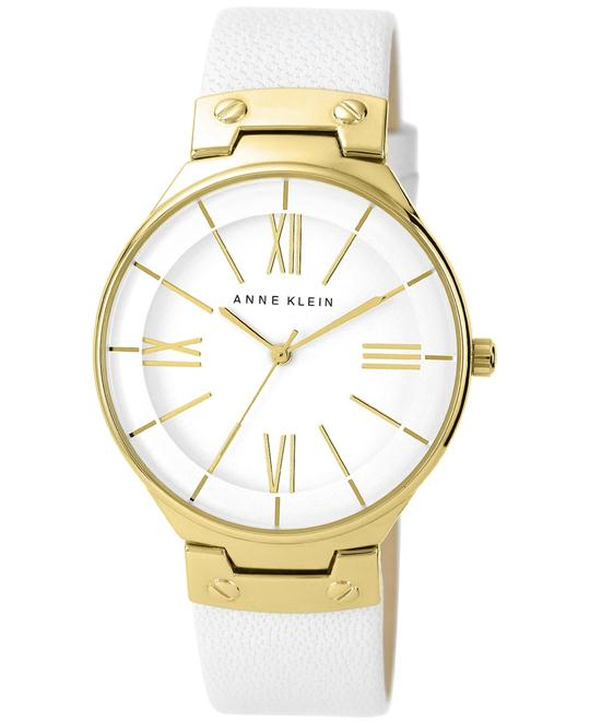 Anne Klein Women's White Leather Strap Watch 39mm