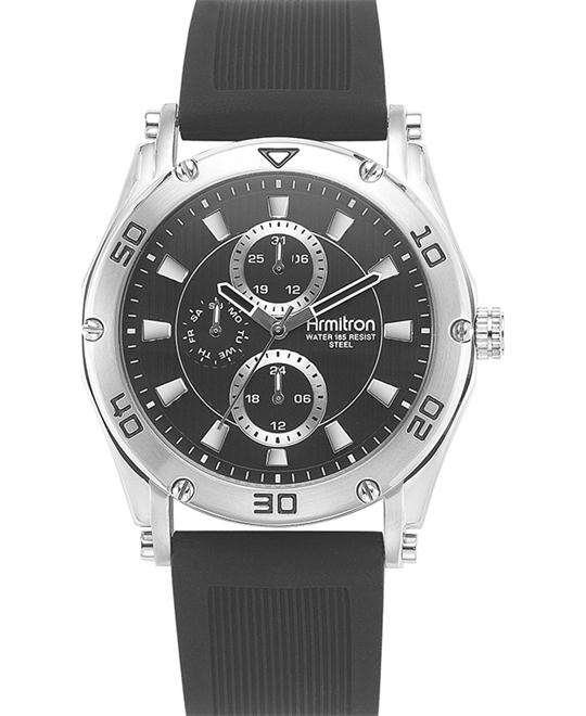 Amitron Men's Black Silicone Watch, 44mm