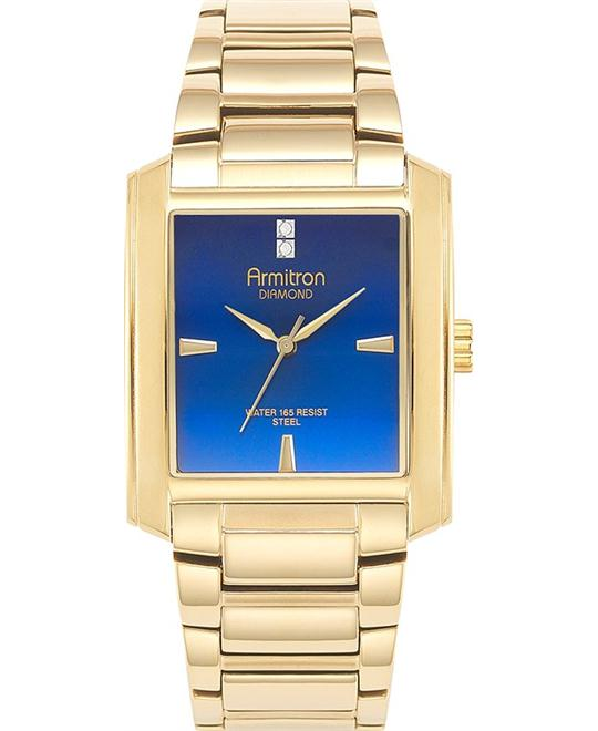 Amitron Men's Diamond Gold-Tone Watch, 36mm