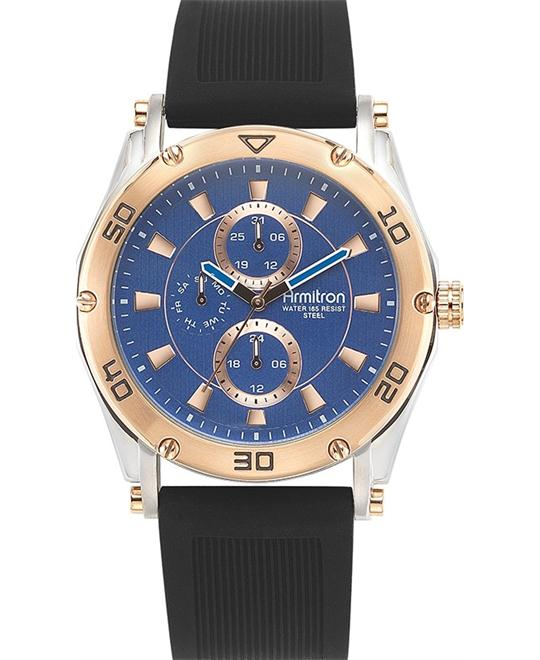 Amitron Men's Rose Gold Silicone Watch, 44mm