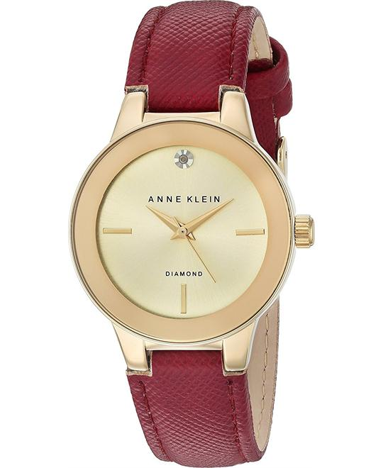 Anne Klein Diamond Accent Burgundy Leather Strap Watch 30mm