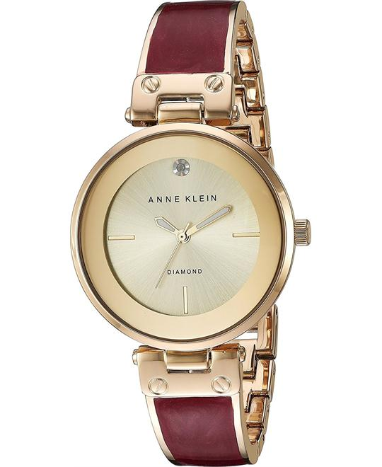 Anne Klein  Diamond Accent Gold-Tone Watch 34mm