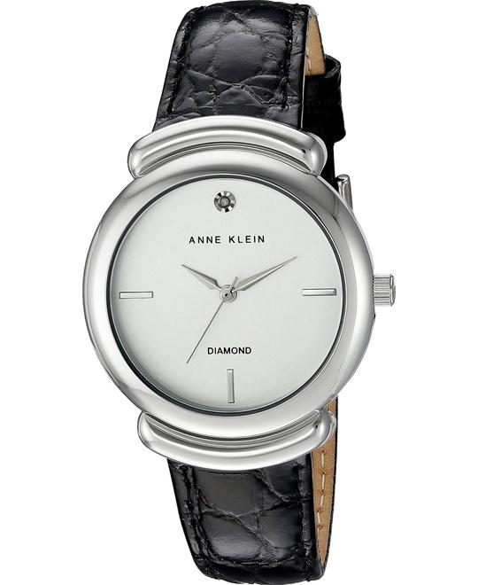 Anne Klein Diamond Black Crocro-Grain Watch 36mm