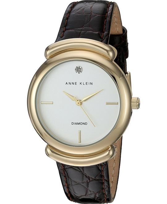 Anne Klein Diamond Brown Croco-Grain Watch 36mm