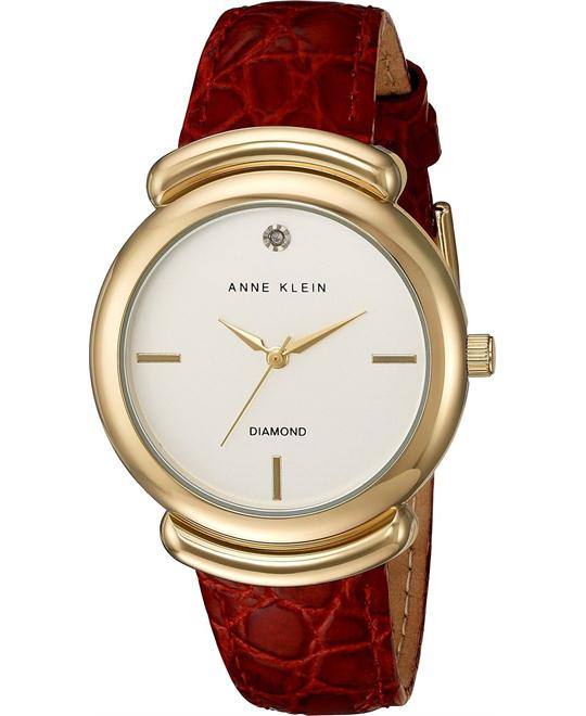 Anne Klein Diamond Red Croco Watch 36mm
