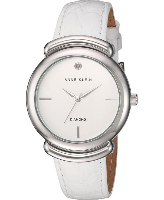 Anne Klein Diamond White Croco-Grain Watch 36mm